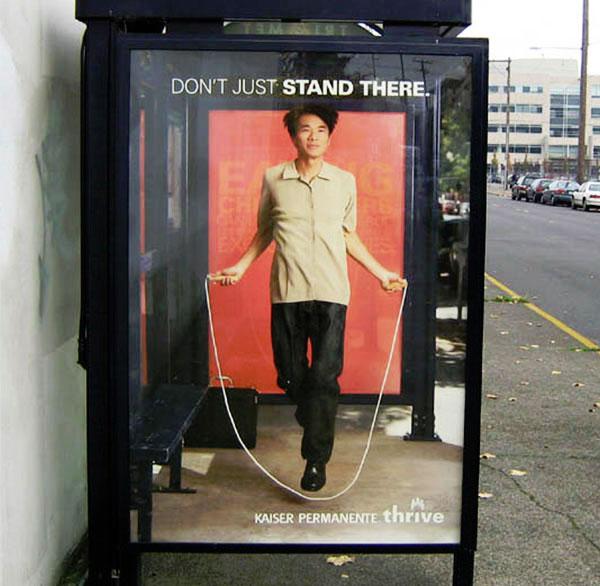 bus shelter advertising kaiser jump rope exercise