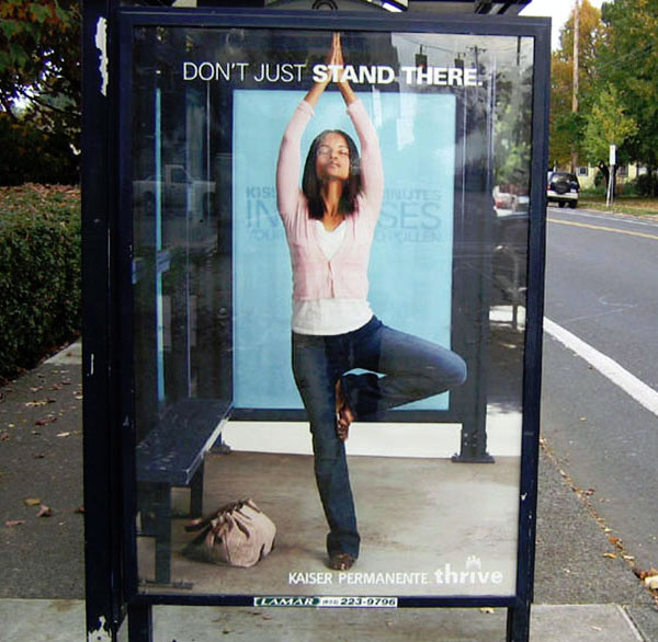 bus shelter advertising kaiser time to stretch