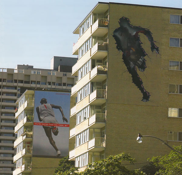 man running through walls - nike wallscape advertising
