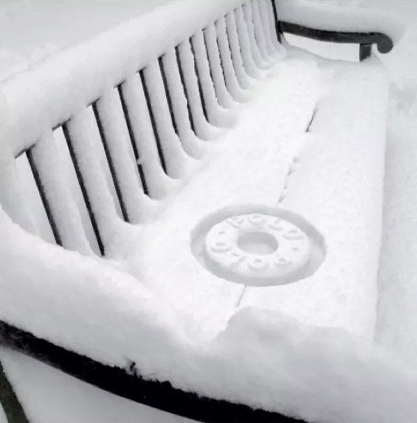 polo brand imprinted in snow bench