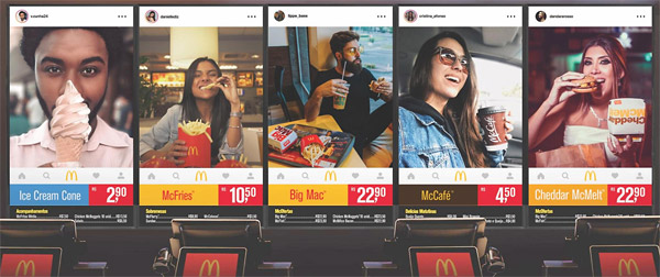 mcdonalds instagram testimonials for instore menu board