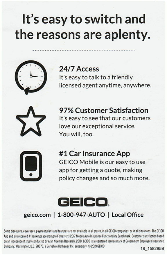 geico switch headline postcard back side