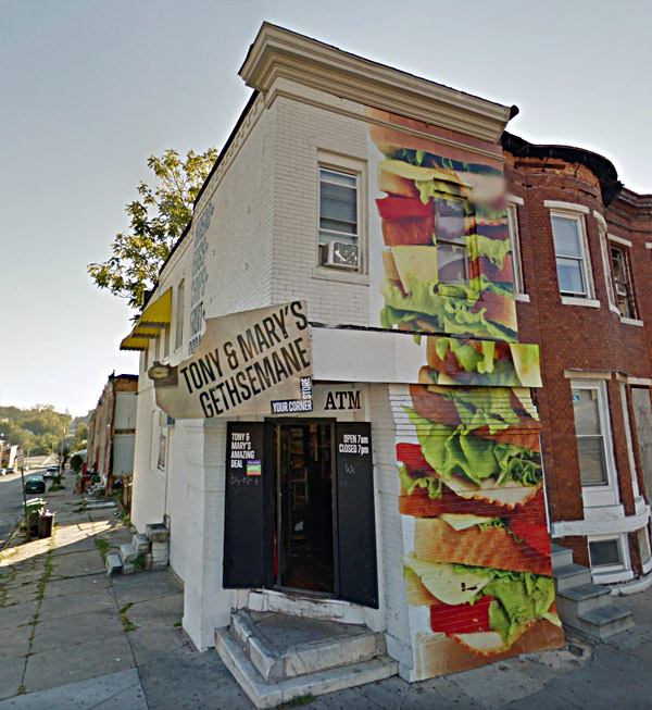 outdoor building mural of deli sandwich for corner grocery