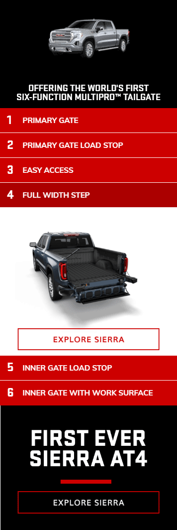 accordion banner advertising example - sierra truck tailgate