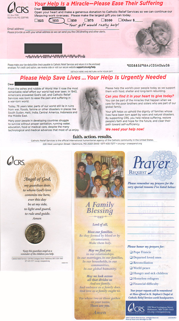law of reciprocity example direct mail catholic relief service