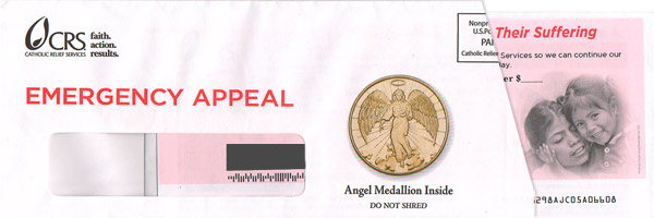 pay it forward direct mail example catholic relief services