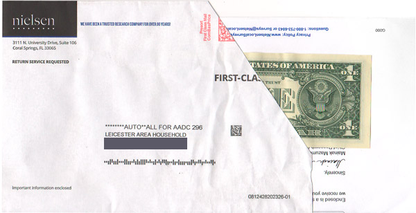 pay it forward direct mail piece nielson survey
