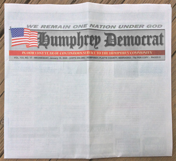 newspaper cover intentionally left blank