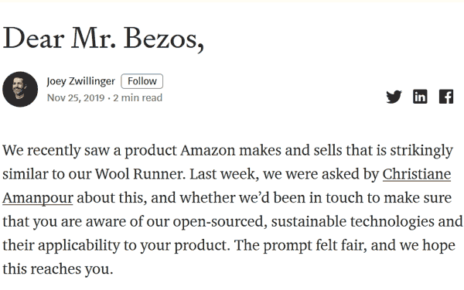 open letter from All Birds to Jeff Bezos