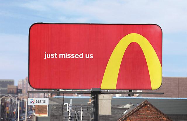 directional billboard mcdonalds uturn
