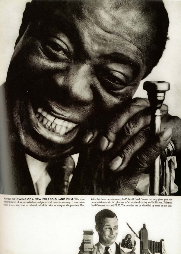 polaroid instant land camera portrait louie armstrong