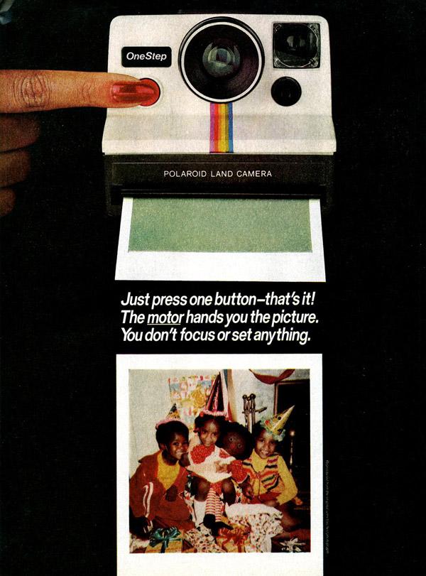 polaroid onestep instant camera demonstration ad