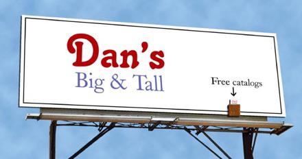 billboard for big and tall mens shop