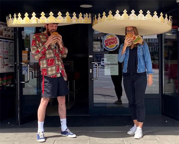 oversized crown hats social distancing burger king promo