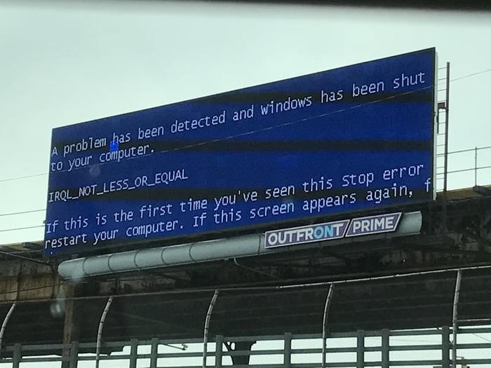 actual windows error message billboard