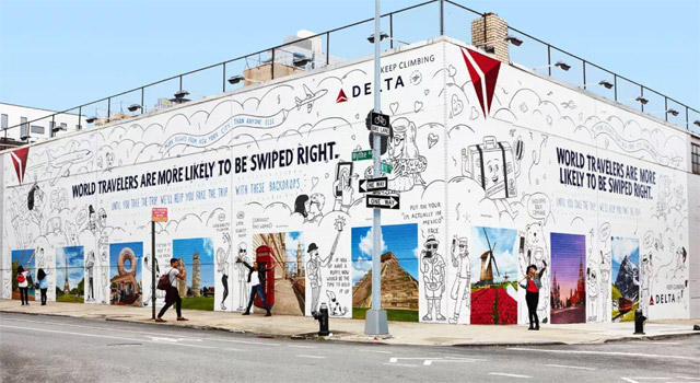 building mural with photos of popular travel destinations | delta airlines