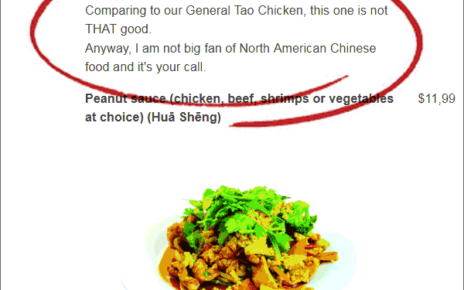 chinese restaurant with extremely truthful menu