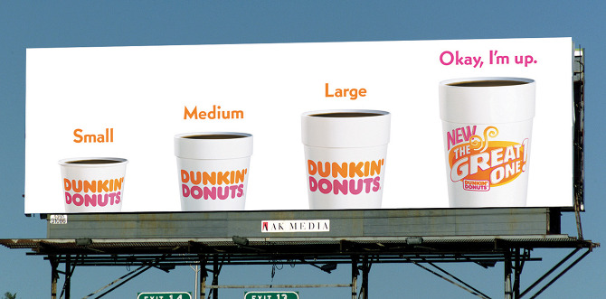 dunkin donut coffee sm md lg wakeup billboard