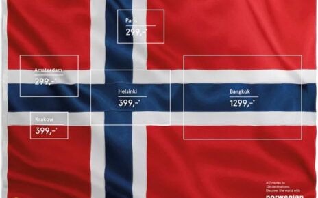 norwegian airlines flags of possible flight destinations