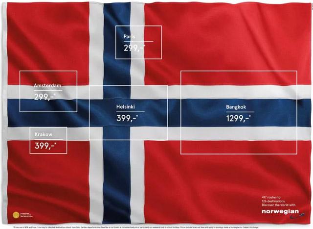 norwegian airlines flags of possible flight destinations