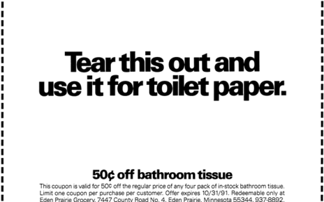 use this coupon for toilet paper advertisement