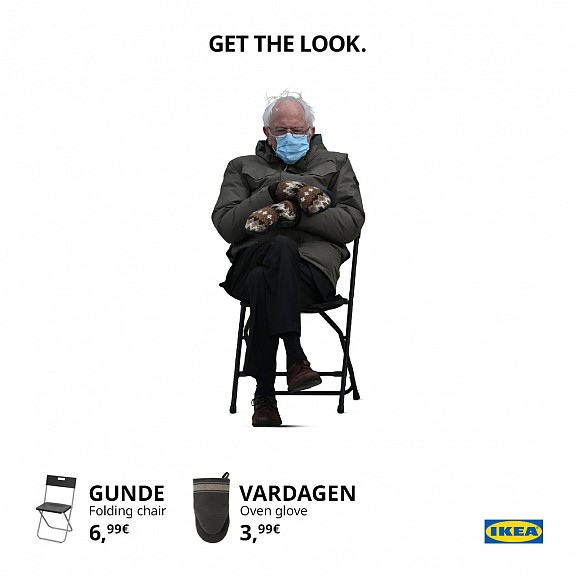 meme advertising - bernie sanders mittens - ikea