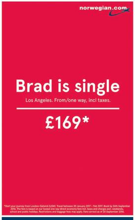 brad pitt - norwegian airlinews print ad
