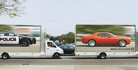 truck wrap marketing police chasing dodge challenger