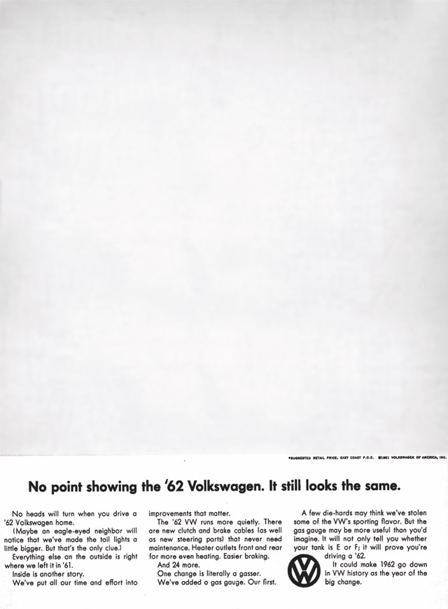classic VW ad | No Point Showing Car Photo