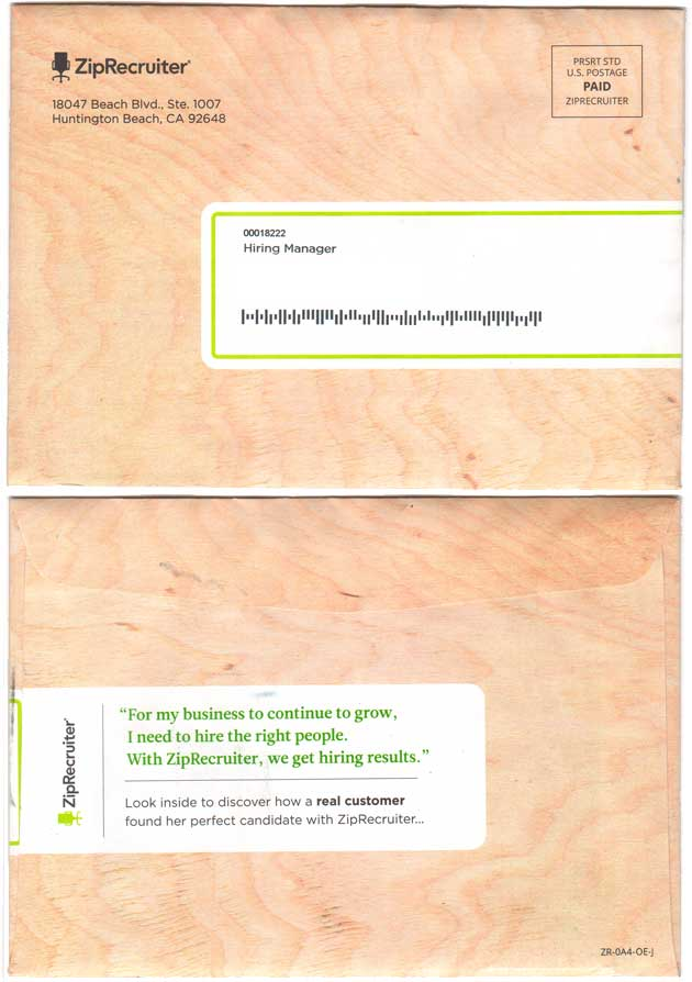 featuring testimonial on mailer envelope