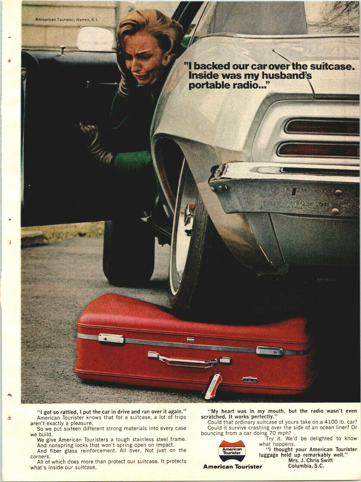 car backs over luggage print ad