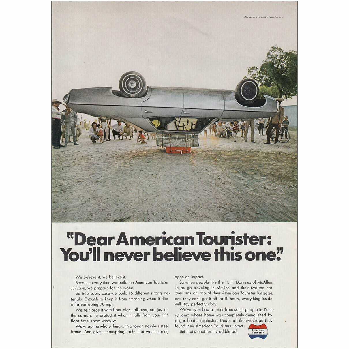 demonstration advertisement with car rolled on top of luggage