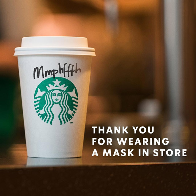 how to handle sensitive topic with humor starbuck mumbled name covid mask