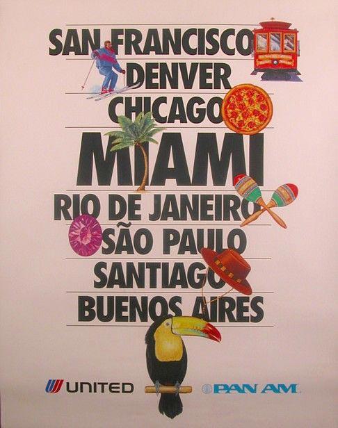 latin america airline travel poster