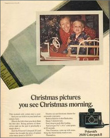 christmas pictures on christmas morning - polaroid instant camera
